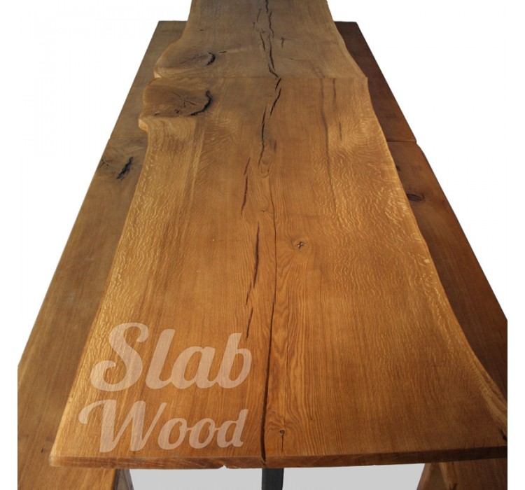 Miraculous Eco Style Slab Oak Set Table And Benches 96 Your Shop Ibusinesslaw Wood Chair Design Ideas Ibusinesslaworg